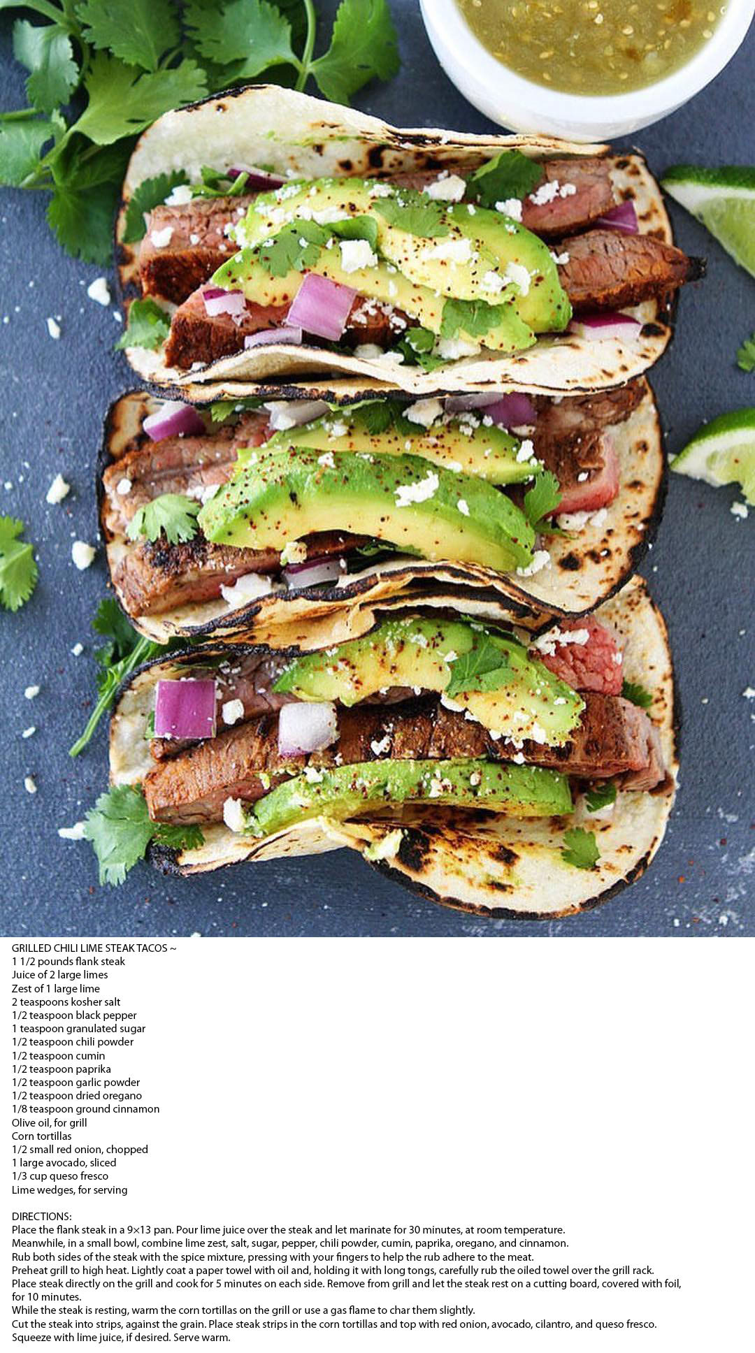 GRILLED CHILI LIME STEAK TACOS