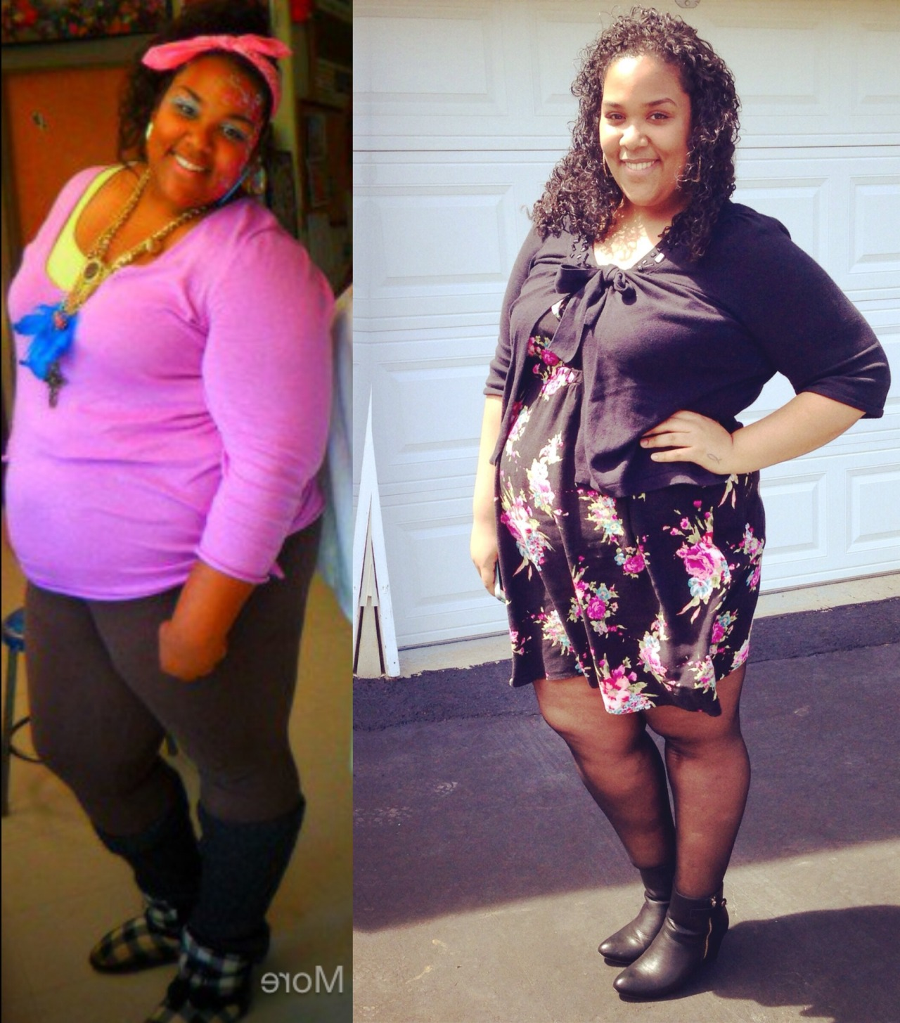 "Hey I'm Jacqueline! Im 20 years old and 5'11"" Left photo was me in high-school at my highest weight ever 385lbs Right photo was me on Easter 2014 at 315lbs I have been plateauing for last 4 months and its extremely hard to keep going when I feel as if nothing is happening but it is always good to look back to this photo and see how far I have come. If you would like to follow me along my journey, heres my blog."