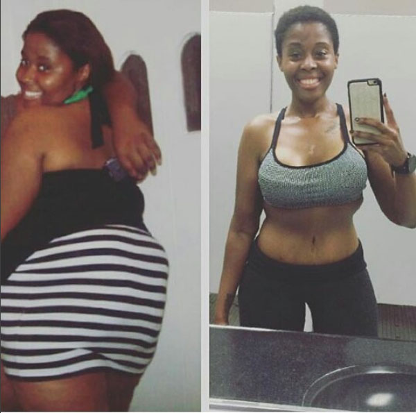 Before and after weight loss transformation