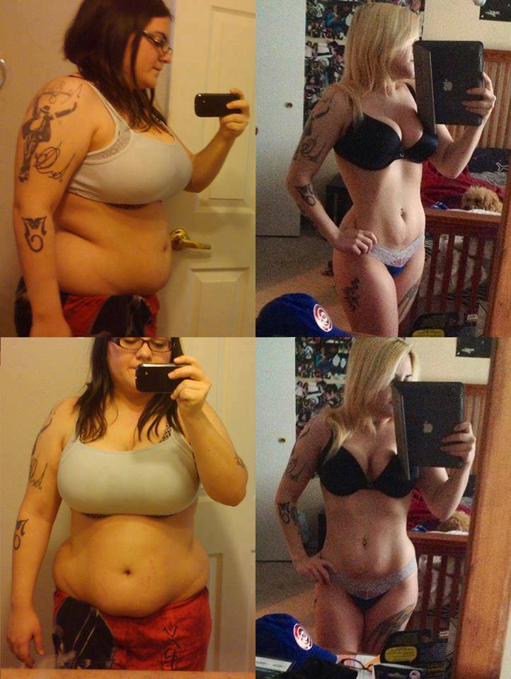 several photo cardinal changes of the girl in weight loss