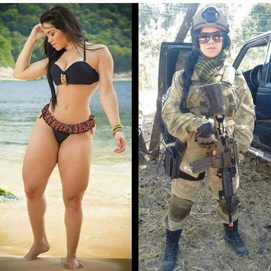 Sports girl in army uniforms