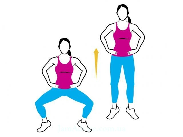 Squat with a jump upwards