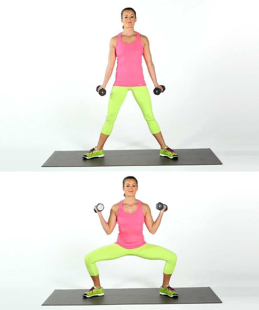 Sumo Squats and Biceps Dumbbell Bends