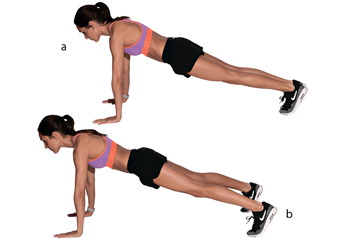 Spread one's legs in the plank