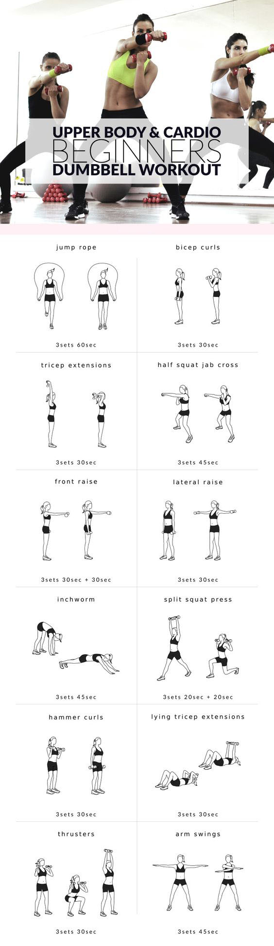 Slim down your arms and sculpt your shoulders with this upper body beginners workout for women. A mix of cardio and strength training moves to trim body fat and strengthen the muscles.