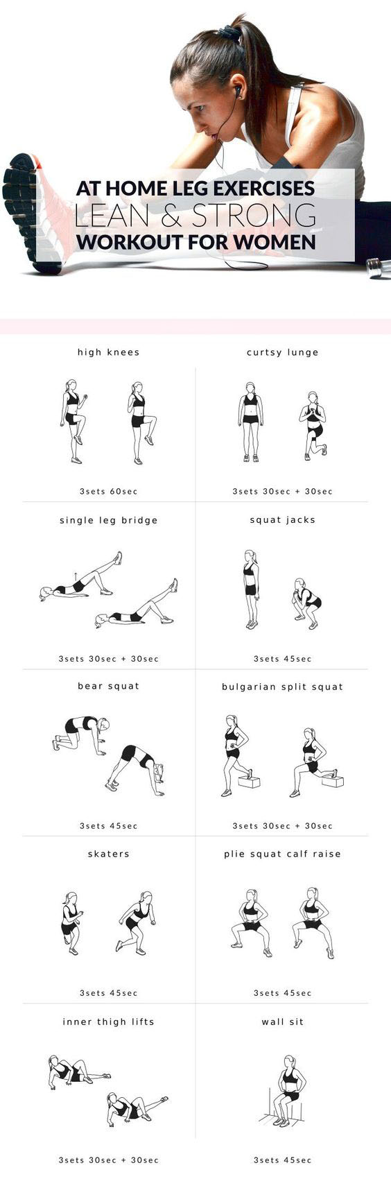 Upgrade your workout routine with these 10 leg exercises for women. Work your thighs, hips, quads, hamstrings and calves at home to build shapely legs and get the lean and strong lower body you've always wanted!