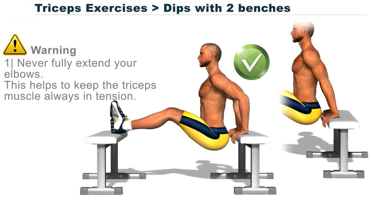 Disposition on the bench - lowering to the bench. Lower the body between the two benches, putting the ends of the arm and the new on the bench. Keep your elbows close to each other.