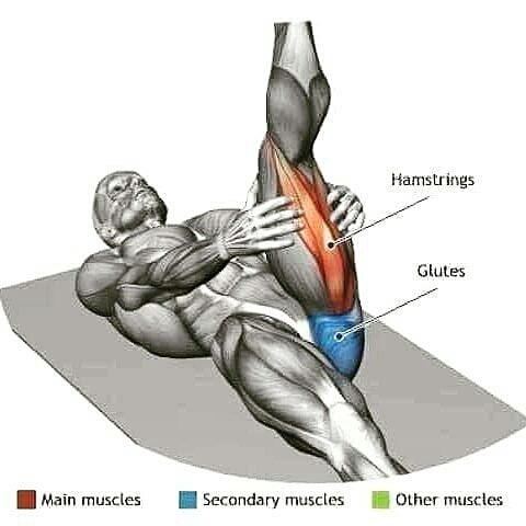 stretching the back of the thigh, be careful to avoid injury!