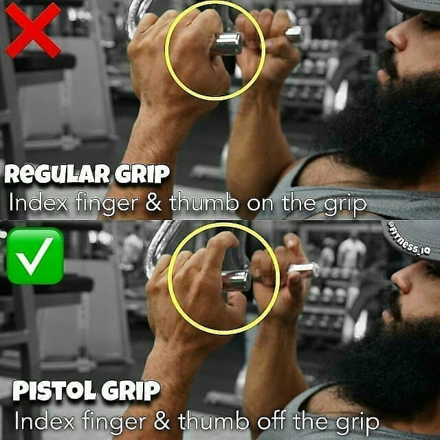 thumb on the grip