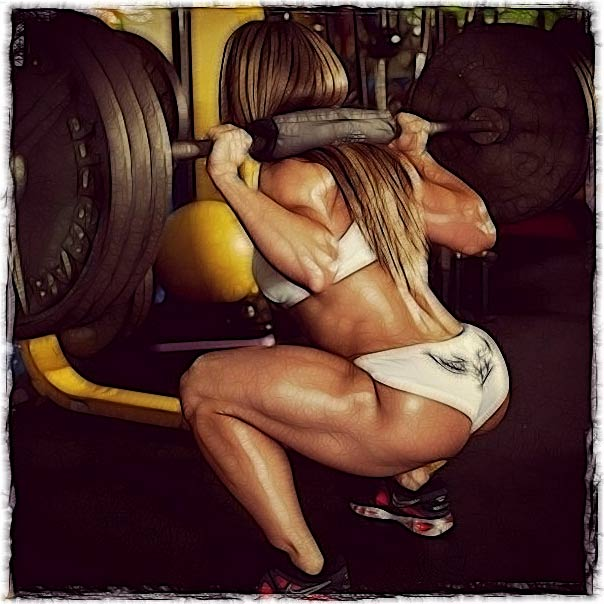 Deep squats with a barbell on the shoulders