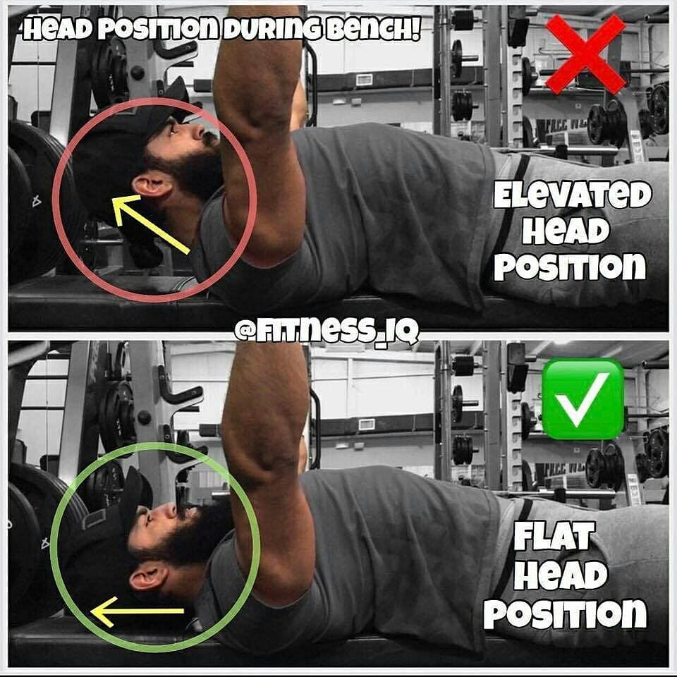correct position of the neck for the bench press