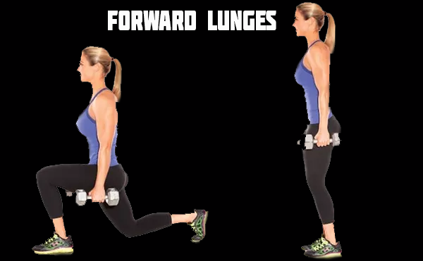 forward lunges with a dumbbell