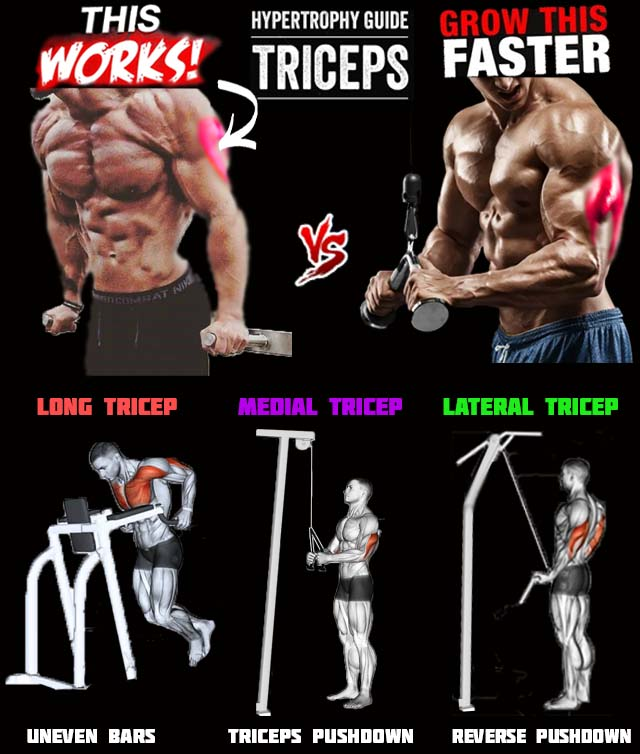 Tricep press - pushups uneven bars vs. pushdown