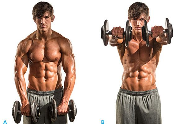 Execute Exercise Dumbbell front raises