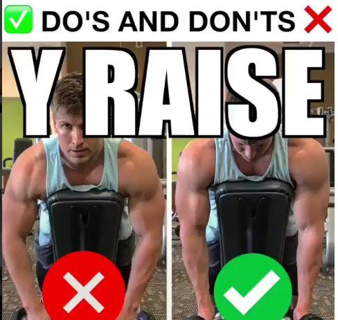 Shoulder Workout - Dumbbell Y Raise on Incline Bench