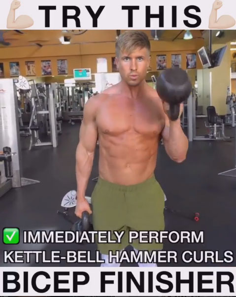 Rise to the biceps standingKettlebell