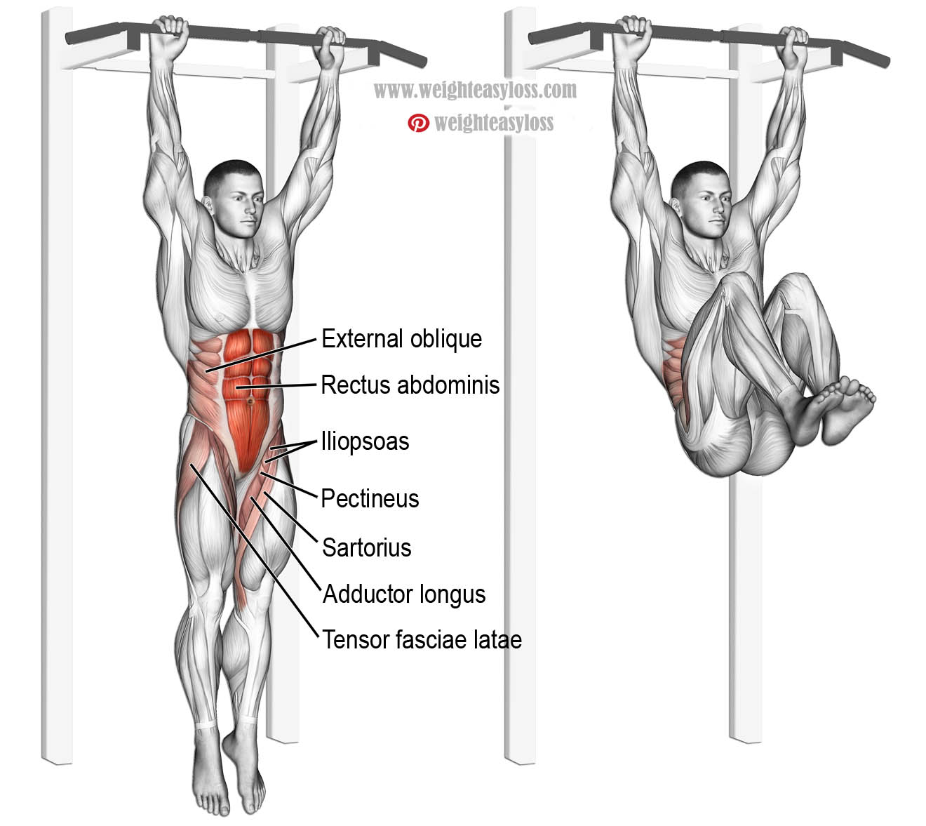 hanging leg raises with bent legs