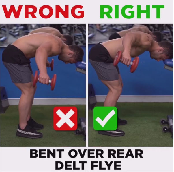 HOW TO BENT OVER REAR DELT FLYE WRONG VS RIGHT