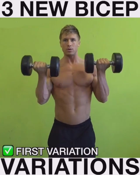Perform alternating bicep curls