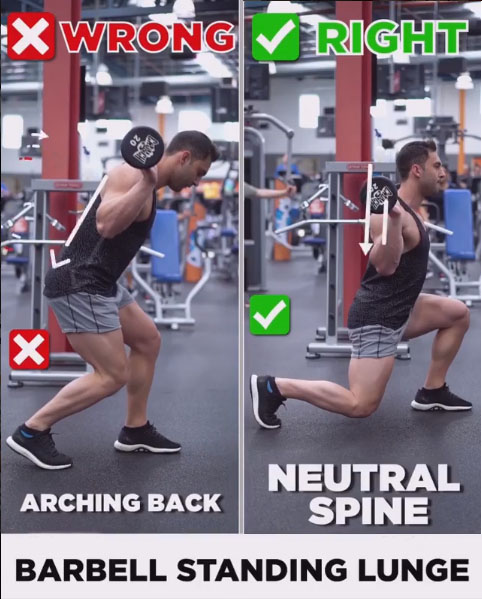 BARBELL STANDING LUNGE ❌WRONG & ✅RIGHT