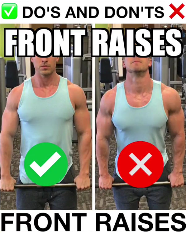 🚨Barbell Front Raises Proper Form 🚨
