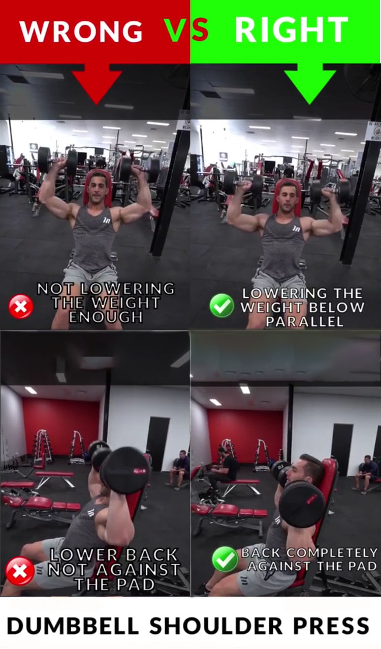 DUMBBELL SHOULDER PRESS WRONG VS RIGHT