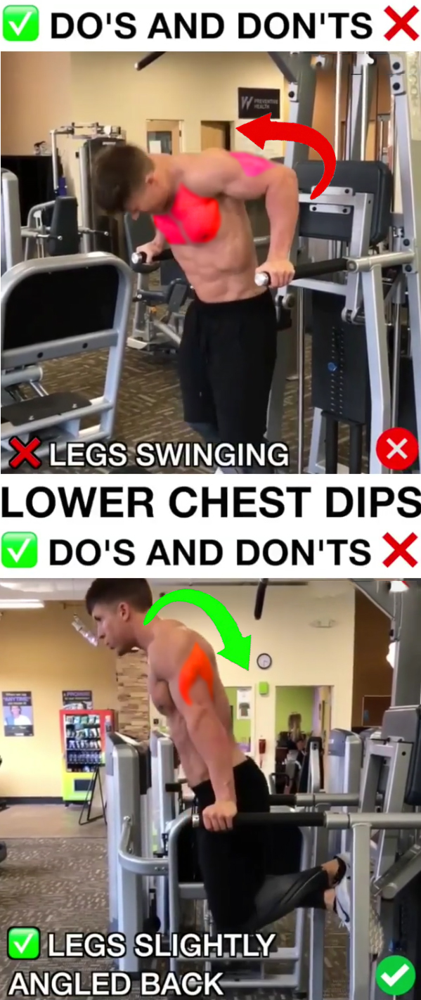 Lower Chest Dips ❌WRONG VS RIGHT❎