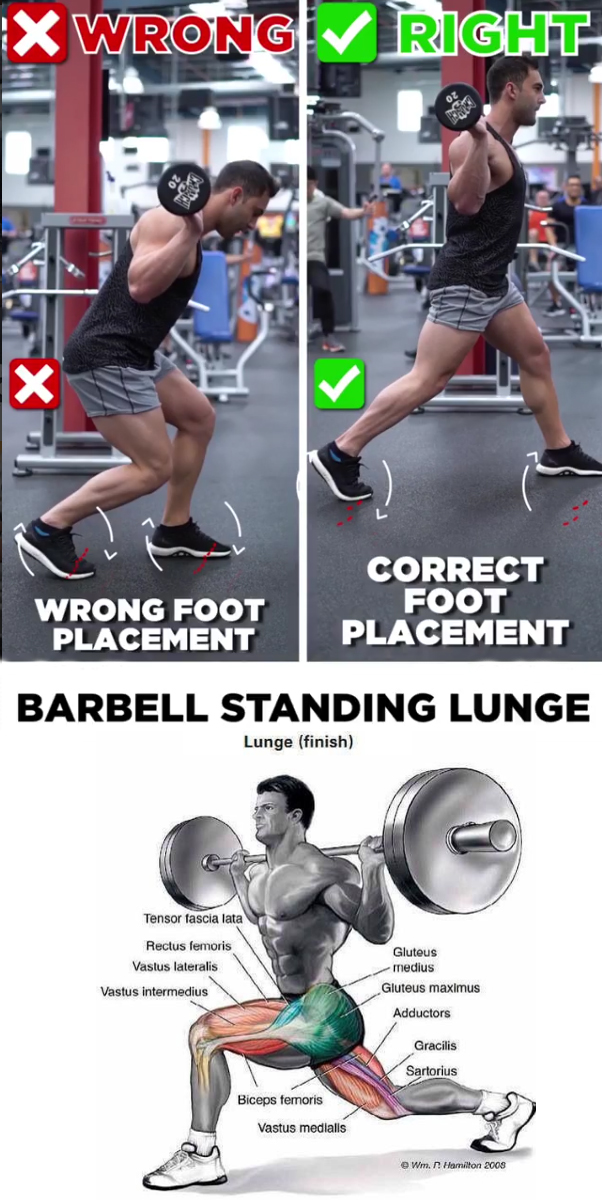 BARBELL STANDING LUNGE
