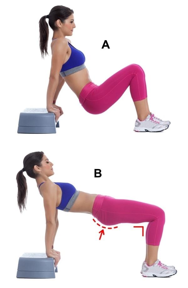Reverse plank hip lift