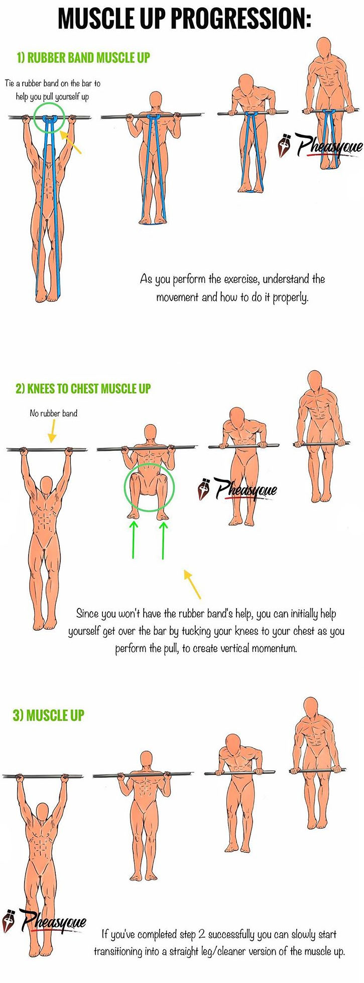 MUSCLE UP PROGRESSION FOR BEGINNERS