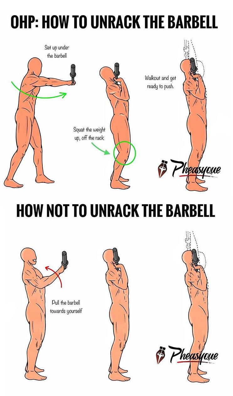 HOW TO UNRACK THE BARBELL