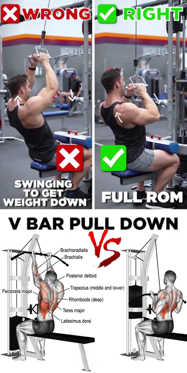 V BAR PULL DOWN VS Reverse-grip lat pull-down
