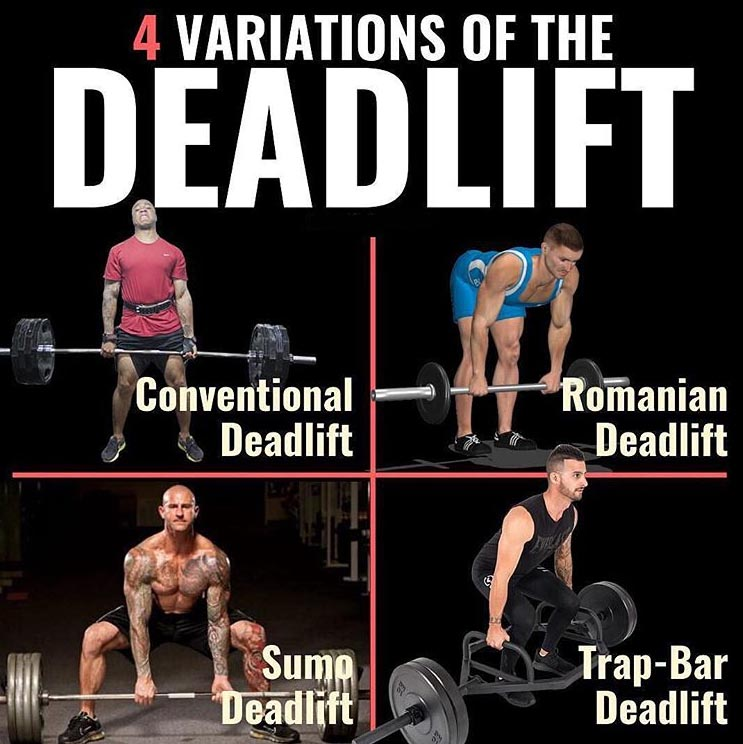 4 variations of the deadlift