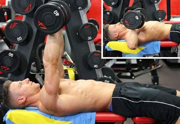 The execution technique dumbbell bench press