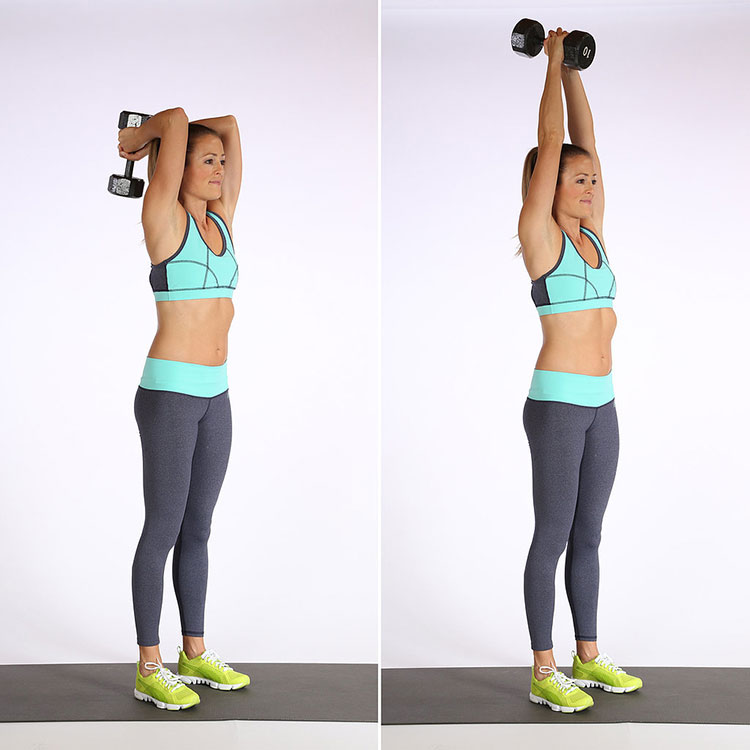 Extending your arms to triceps with dumbbell