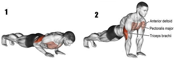 Narrow push-ups exercises