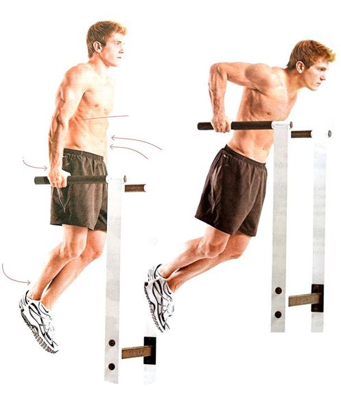 bodyweight workout -parallel bar dips