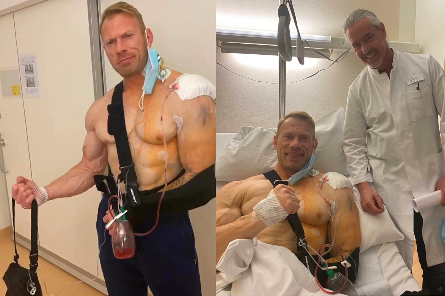 Dennis Wolf after shoulder surgery